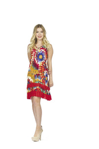 Papillon PD-05584 Tie Dye Ruffle Hem Dress