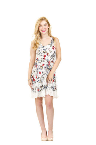 Papillon Floral and Vine Print Ruffle Hem Dress