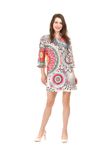 Papillon PD-08674 Red Print Lacey Overlay Long Sleeve Dress