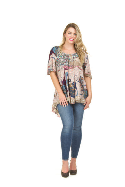 Papillon PT-01104 Flowy Short Sleeve Printed Tunic