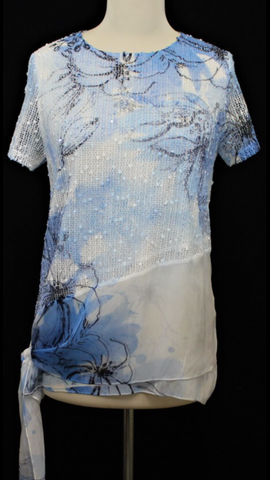 Compliments 23-3049 Knit and Lace Short Sleeve Top with Side Tie in Flower Print