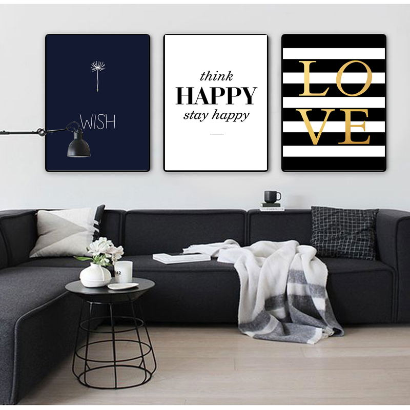 Modern Happy Quotes Canvas Painting Wall Pictures