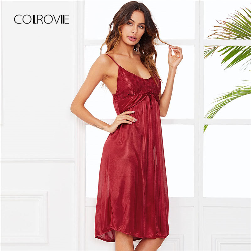 5e5d2fd0e COLROVIE Lace Panel Night Dress 2018 New Arrival Sexy Plain Women Sleepwear  Red Sleeveless Nightwear Dress ...
