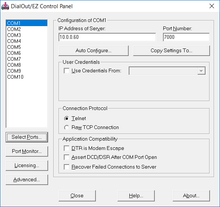 Configure virtual com ports for modem access