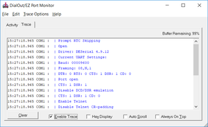 monitor and trace virtual com port modem communication