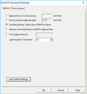 advanced settings for compatibility with most serial servers