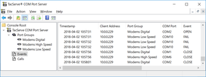 modem server event log for TacServe