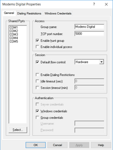 Configure virtual com ports for modem access in modem pool