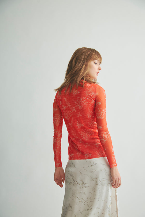 THE MESH MOCK NECK FLORAL