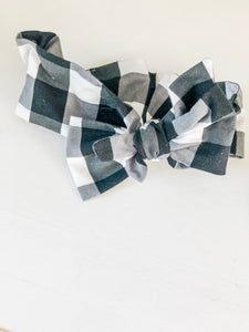 Large Bow Headwrap - Black Gingham
