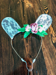Lace & Floral Bunny Ear Headband