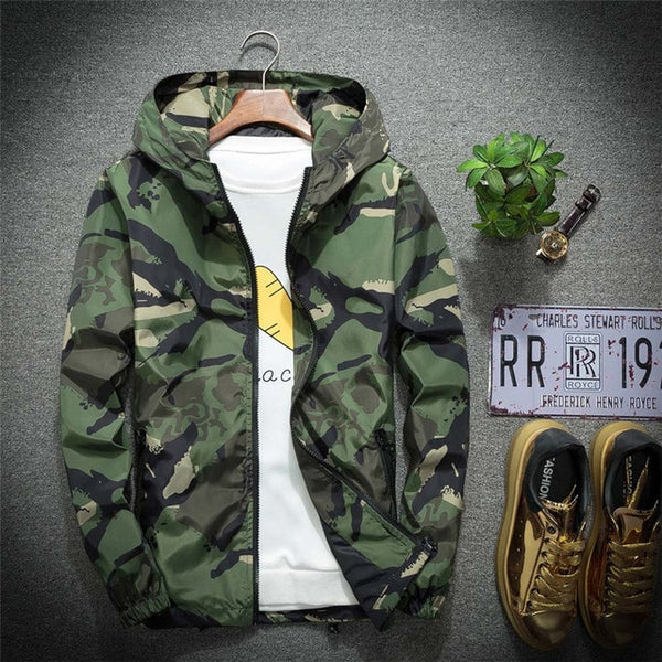 Men's Jacket Hooded Sportswear Men's Winter Hoodie Soft Shell Camouflage Waterproof Windproof Outdoor Streetwear Coat Large Size