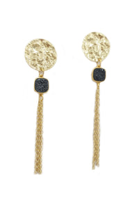 Gold platted coin earrings, druzy pendants, chain earrings, long earrings