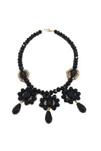 Lace effect black crystals chocker