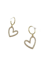 Rhinestone heart hoop earrings