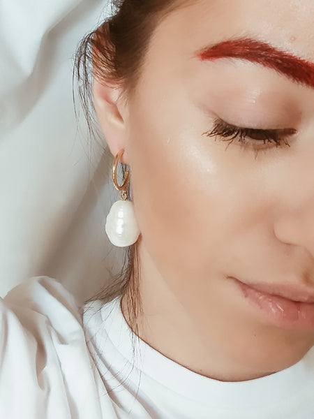 XL mother of pearl hoops