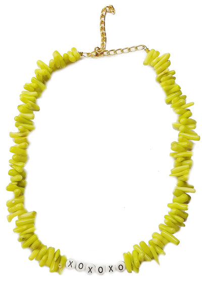 Xoxoxo Green corals necklace