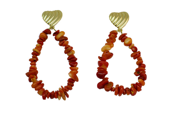 Heart and corals hoop earrings - Sofi Moukidou