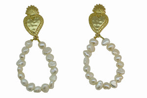 Baroque hearts and freshwater pearls hoop earrings - Sofi Moukidou