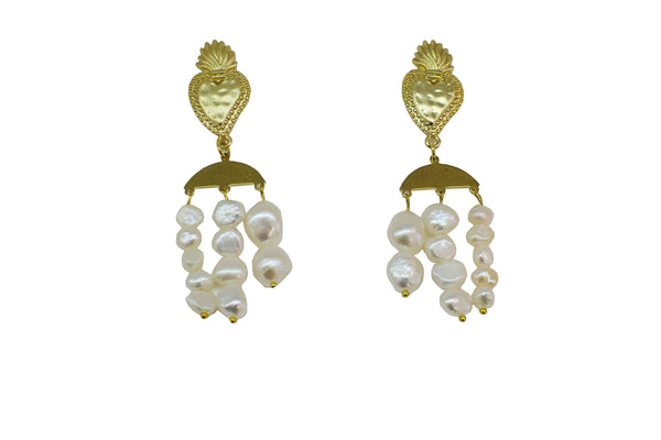 Triple mother of pearl and baroque hearts earrings - Sofi Moukidou