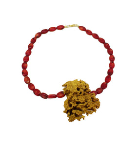 Corall necklace with gold natural sponge - Sofi Moukidou