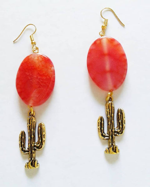 Cornelian Cactus Earrings - Sofi Moukidou