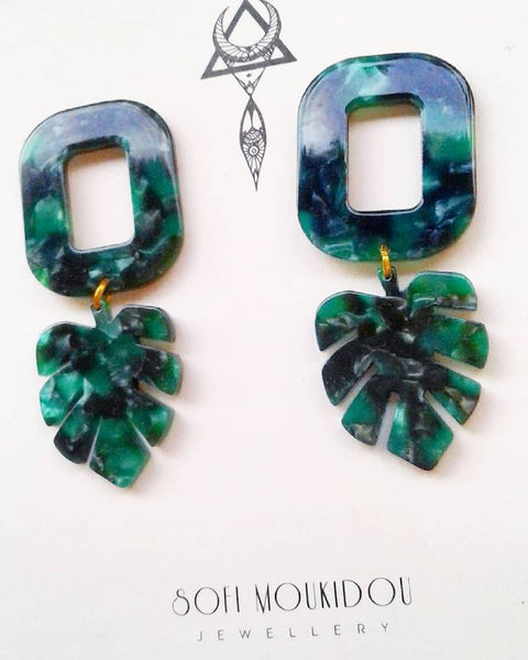 Malachite leaves earrings - Sofi Moukidou