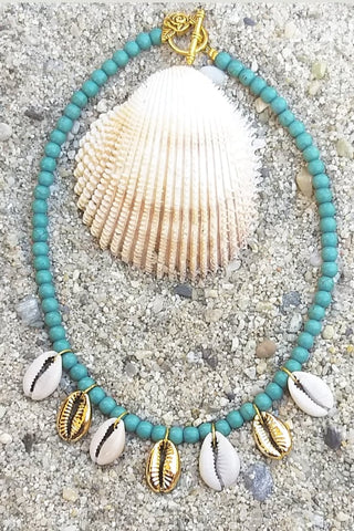 Turquoise necklace with cowrie shells - Sofi Moukidou