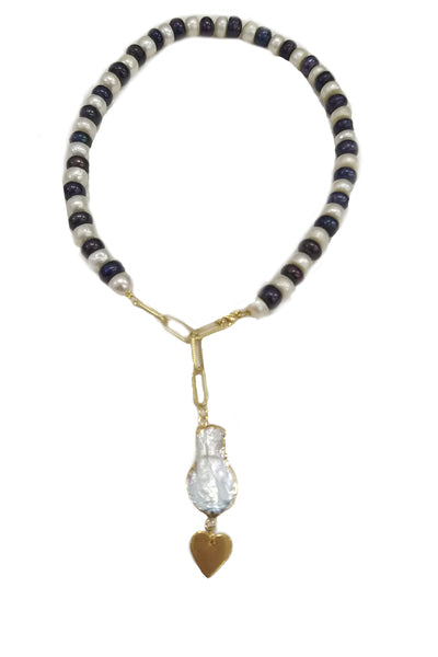 Black and white freshwater pearls and heart charm necklace