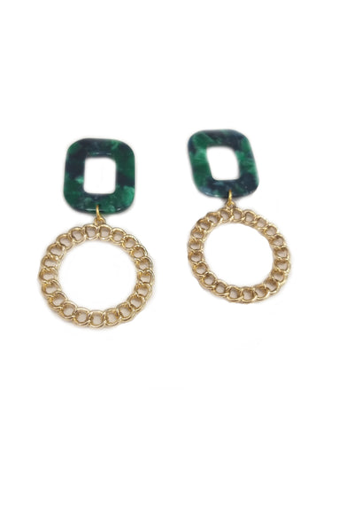 Malachite and chain effect earrings