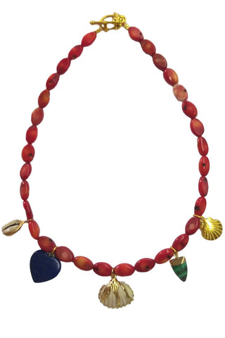 Coral collage necklace
