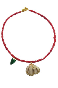 Corall necklace with gold platted charms - Sofi Moukidou