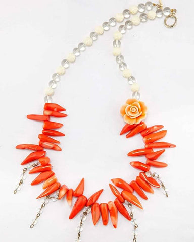 Corals and roses necklace
