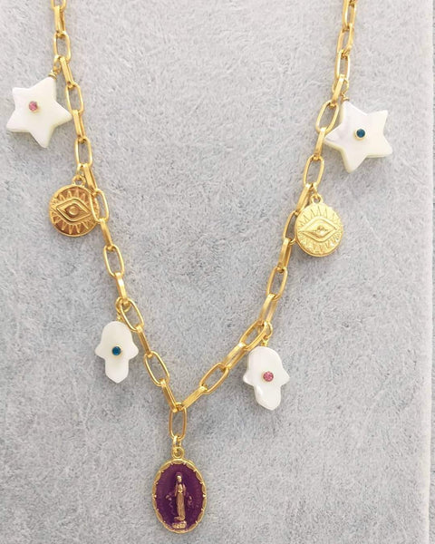 Chain and amulets charms necklace - Sofi Moukidou