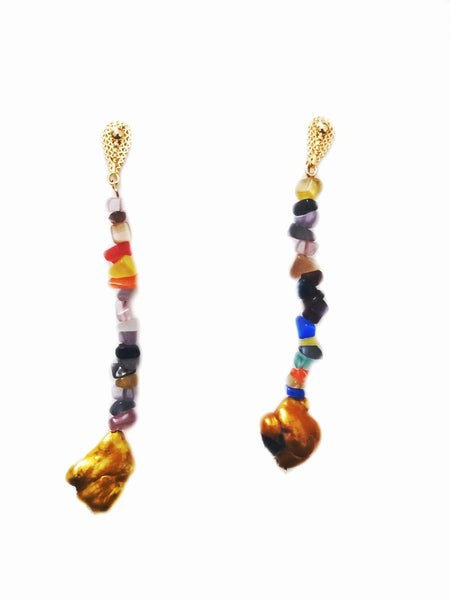 Agate and freshwater pearls long earrings - Sofi Moukidou
