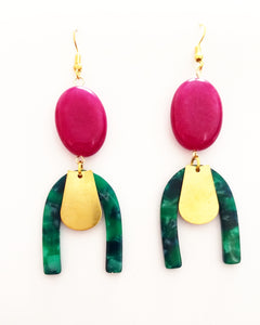 Malachite & turmaline earrings