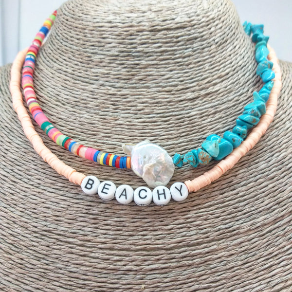 Heishi beaded necklace with semiprecious stones - Sofi Moukidou