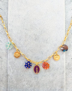 Millefiori and evil eyes chain necklace