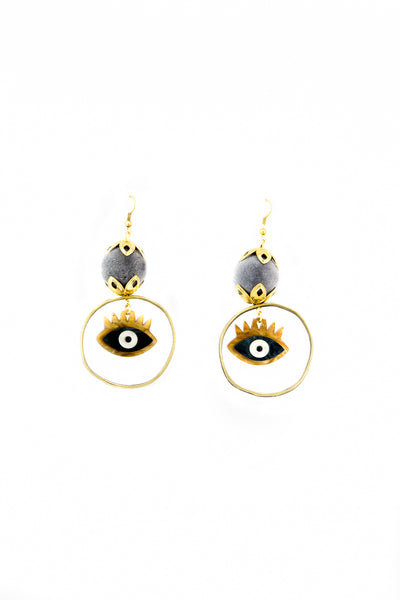 Gray evil eyes earrings