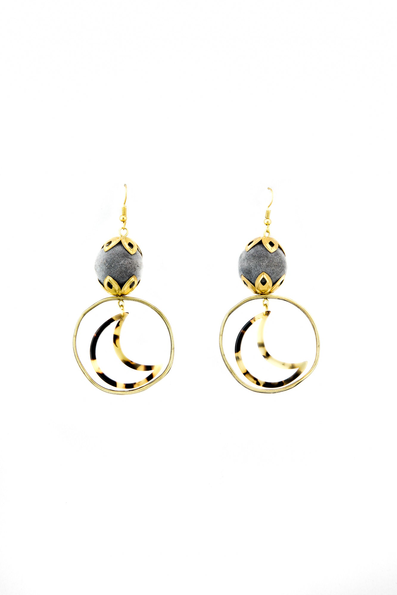 Tortoise moon earrings