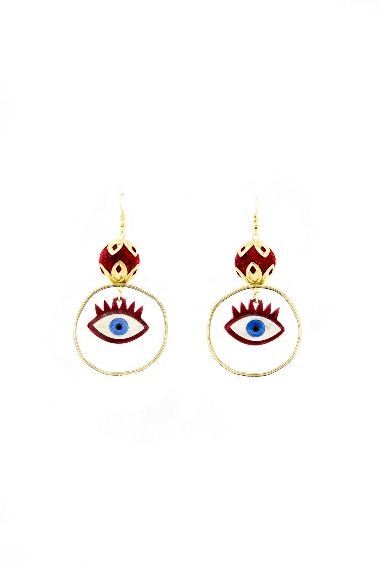 Burgundy evil eye earrings - Sofi Moukidou
