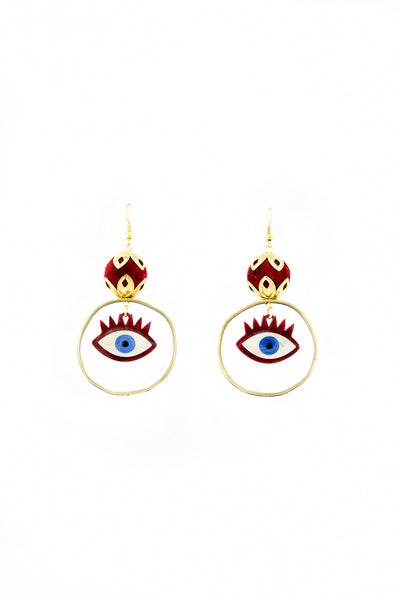 Burgundy evil eye earrings