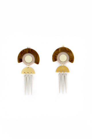Mocca and spikes earrings