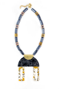 Plexiglass and resin bib necklace with gray and mustard ceramic beads
