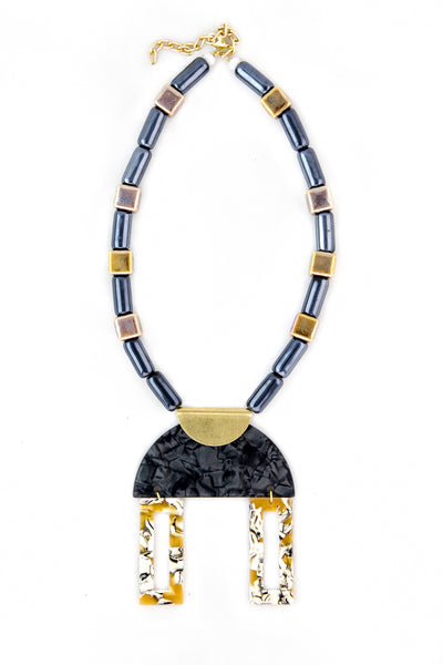 Plexiglass and resin bib necklace with gray and mustard ceramic beads - Sofi Moukidou