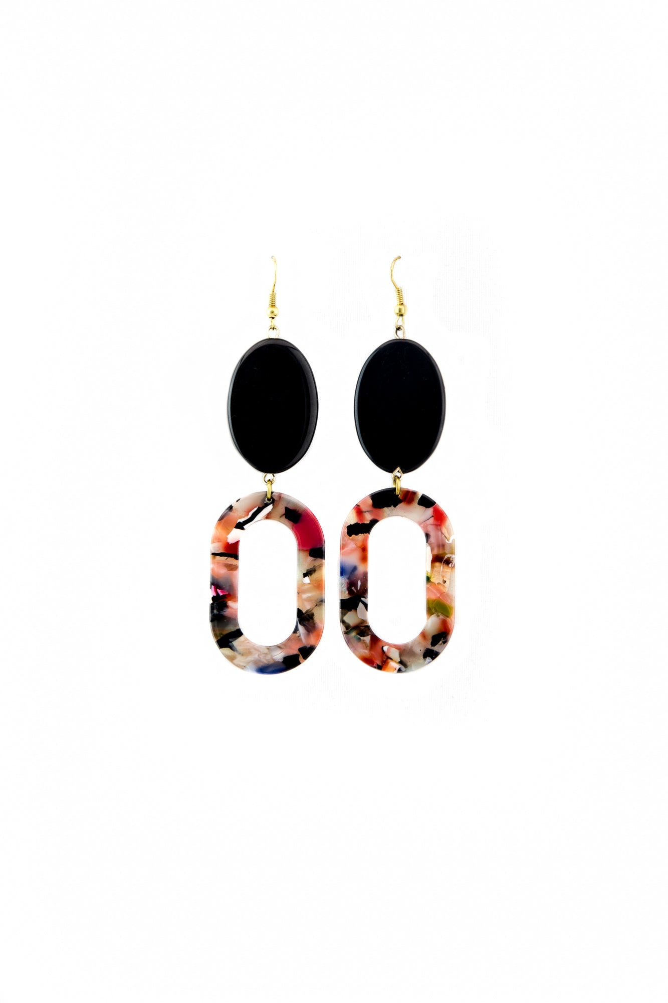 Black onyx floral earrings