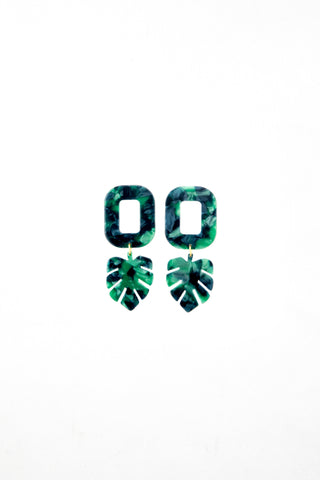 Malachite leaves earrings