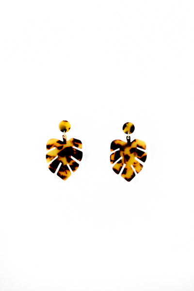 Tortoise leaves earrings