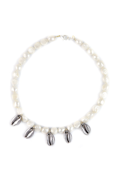 Freshwater pearls and cowrie shells necklace