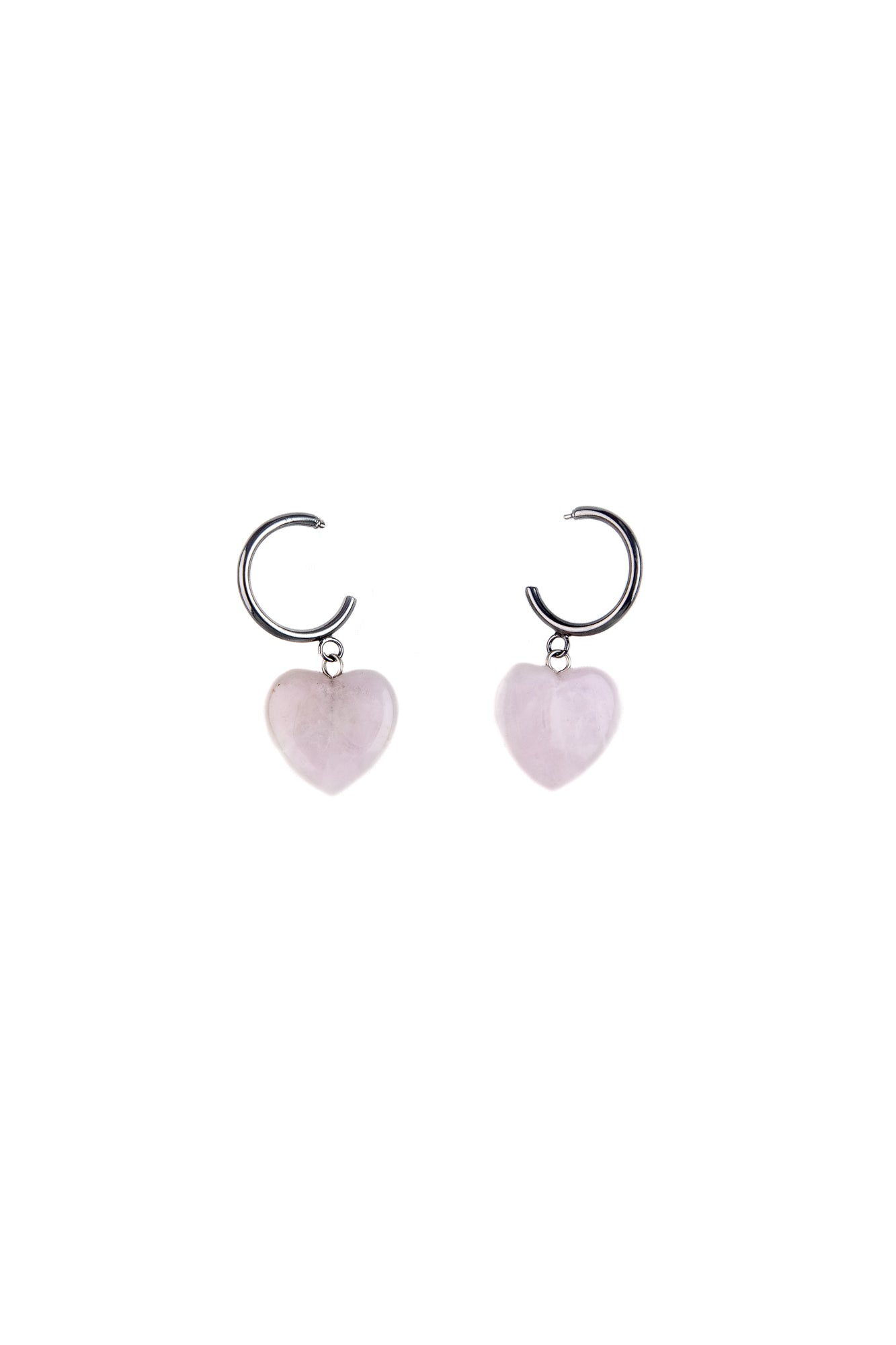 Rose Quartz Heart shaped earrings